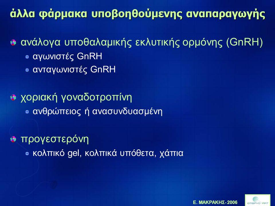 Ε. ΜΑΚΡΑΚΗΣ- 2006 άλλα φάρμακα υποβοηθούμενης αναπαραγωγής ανάλογα υποθαλαμικής εκλυτικής ορμόνης (GnRH) αγωνιστές GnRH ανταγωνιστές GnRH χοριακή γονα