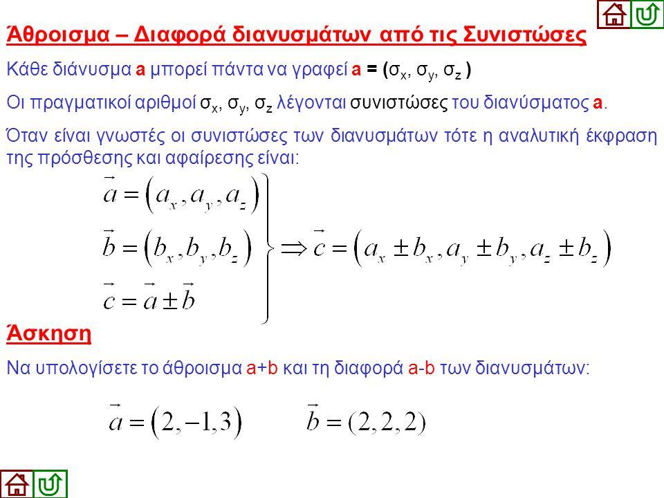 Άθροισμα – Διαφορά διανυσμάτων από τις Συνιστώσες Κάθε διάνυσμα a μπορεί πάντα να γραφεί a = (σ x, σ y, σ z ) Οι πραγματικοί αριθμοί σ x, σ y, σ z λέγ