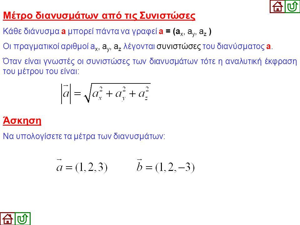 Μέτρο διανυσμάτων από τις Συνιστώσες Κάθε διάνυσμα a μπορεί πάντα να γραφεί a = (a x, a y, a z ) Οι πραγματικοί αριθμοί a x, a y, a z λέγονται συνιστώ