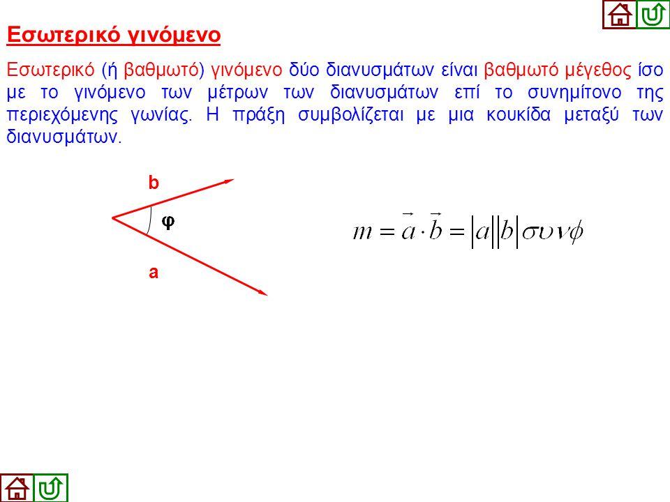 Εσωτερικό γινόμενο Εσωτερικό (ή βαθμωτό) γινόμενο δύο διανυσμάτων είναι βαθμωτό μέγεθος ίσο με το γινόμενο των μέτρων των διανυσμάτων επί το συνημίτον