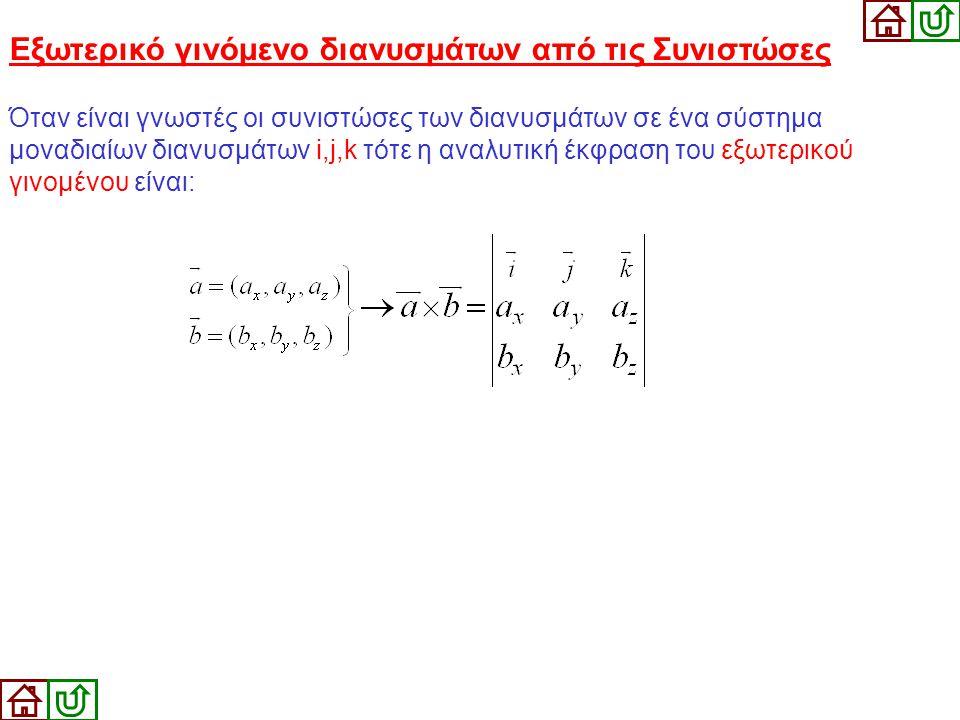 Εξωτερικό γινόμενο διανυσμάτων από τις Συνιστώσες Όταν είναι γνωστές οι συνιστώσες των διανυσμάτων σε ένα σύστημα μοναδιαίων διανυσμάτων i,j,k τότε η