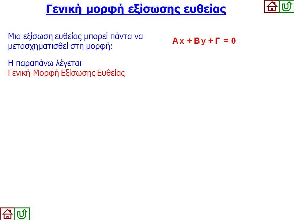 Γενική μορφή εξίσωσης ευθείας Μια εξίσωση ευθείας μπορεί πάντα να μετασχηματισθεί στη μορφή: Η παραπάνω λέγεται Γενική Μορφή Εξίσωσης Ευθείας