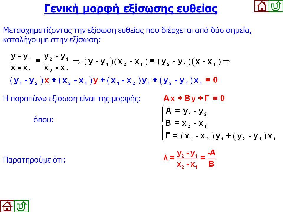 Γενική μορφή εξίσωσης ευθείας Μετασχηματίζοντας την εξίσωση ευθείας που διέρχεται από δύο σημεία, καταλήγουμε στην εξίσωση: Η παραπάνω εξίσωση είναι τ