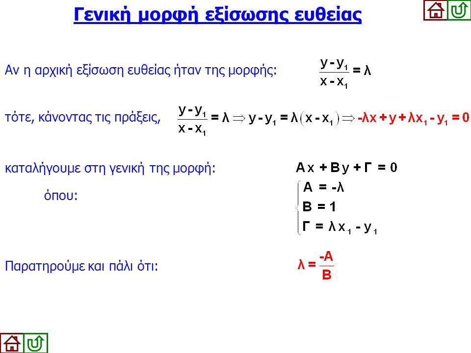 Αν η αρχική εξίσωση ευθείας ήταν της μορφής: καταλήγουμε στη γενική της μορφή: όπου: Γενική μορφή εξίσωσης ευθείας τότε, κάνοντας τις πράξεις, Παρατηρ