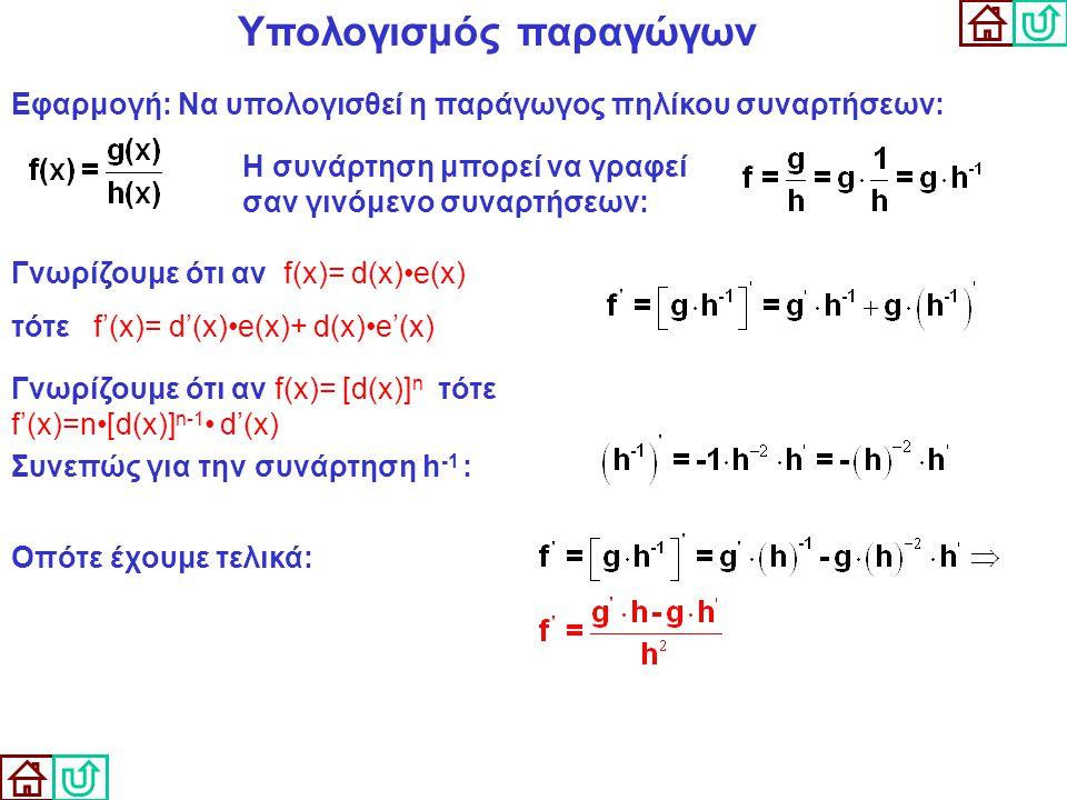 Υπολογισμός παραγώγων Εφαρμογή: Να υπολογισθεί η παράγωγος πηλίκου συναρτήσεων: Η συνάρτηση μπορεί να γραφεί σαν γινόμενο συναρτήσεων: Γνωρίζουμε ότι