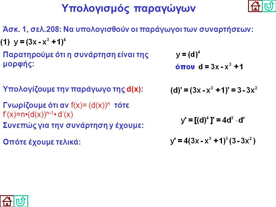 Υπολογισμός παραγώγων Άσκ. 1, σελ.208: Να υπολογισθούν οι παράγωγοι των συναρτήσεων: Παρατηρούμε ότι η συνάρτηση είναι της μορφής: Γνωρίζουμε ότι αν f