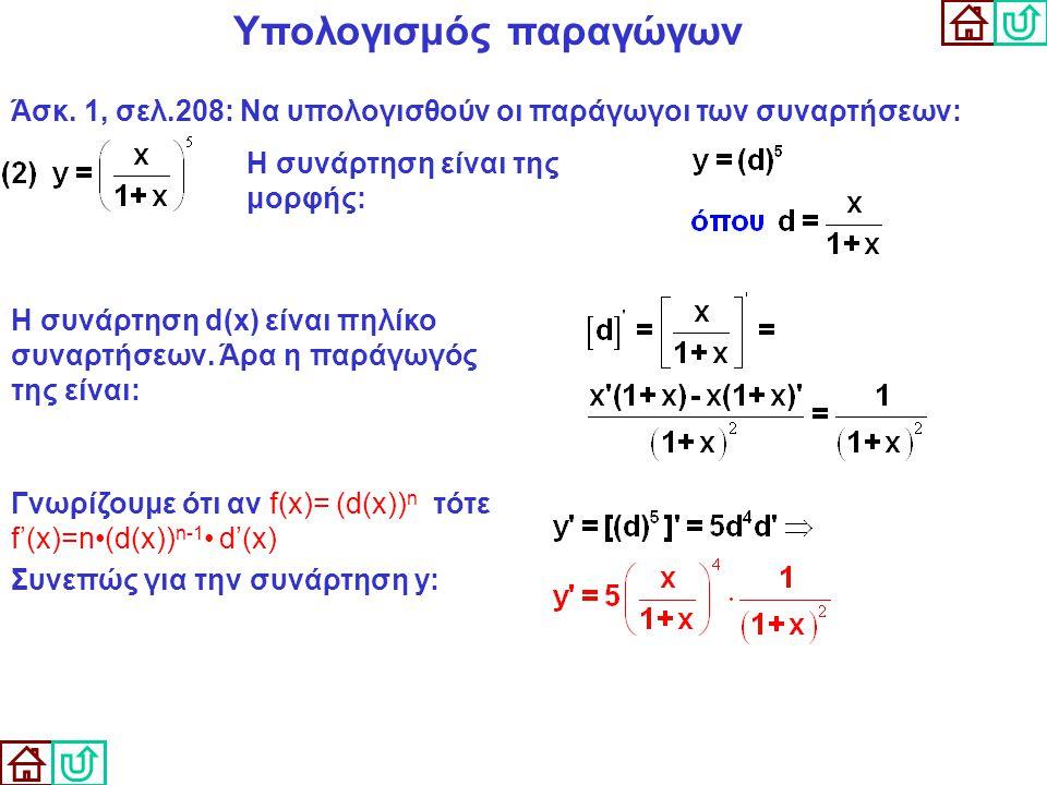 Υπολογισμός παραγώγων Άσκ. 1, σελ.208: Να υπολογισθούν οι παράγωγοι των συναρτήσεων: Η συνάρτηση είναι της μορφής: Γνωρίζουμε ότι αν f(x)= (d(x)) n τό