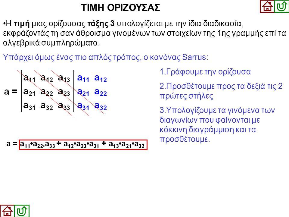 ΤΙΜΗ ΟΡΙΖΟΥΣΑΣ •Η τιμή μιας ορίζουσας τάξης 3 υπολογίζεται με την ίδια διαδικασία, εκφράζοντάς τη σαν άθροισμα γινομένων των στοιχείων της 1ης γραμμής