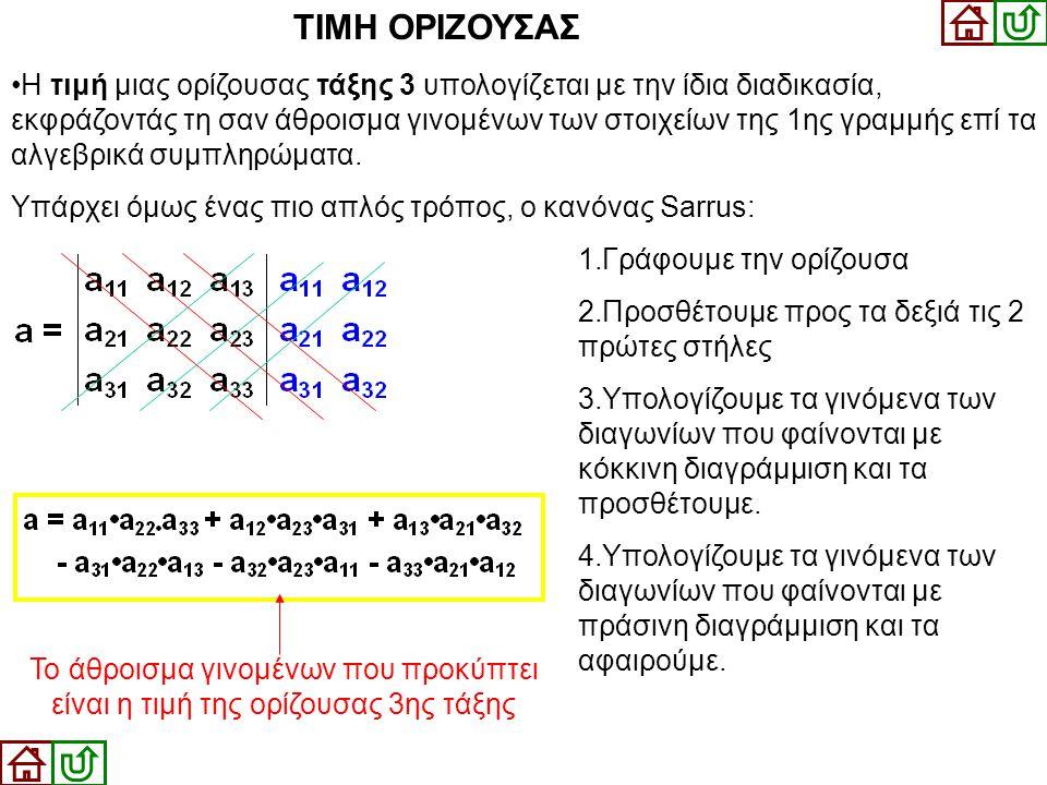•Η τιμή μιας ορίζουσας τάξης 3 υπολογίζεται με την ίδια διαδικασία, εκφράζοντάς τη σαν άθροισμα γινομένων των στοιχείων της 1ης γραμμής επί τα αλγεβρι