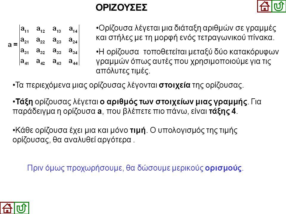 •Τάξη ορίζουσας λέγεται ο αριθμός των στοιχείων μιας γραμμής. Για παράδειγμα η ορίζουσα a, που βλέπετε πιο πάνω, είναι τάξης 4. ΟΡΙΖΟΥΣΕΣ •Ορίζουσα λέ