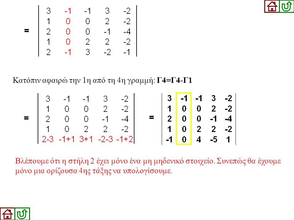 Κατόπιν αφαιρώ την 1η από τη 4η γραμμή: Γ4=Γ4-Γ1 Βλέπουμε ότι η στήλη 2 έχει μόνο ένα μη μηδενικό στοιχείο. Συνεπώς θα έχουμε μόνο μια ορίζουσα 4ης τά