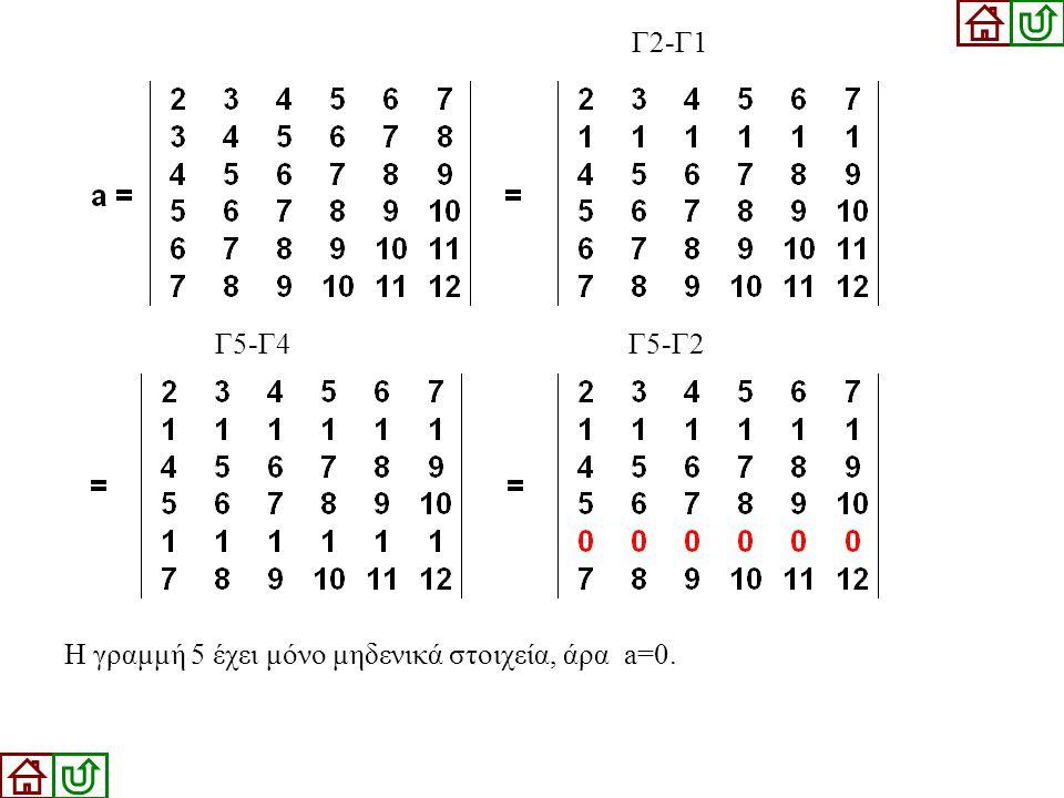Γ5-Γ4 Γ5-Γ2 Γ2-Γ1 Η γραμμή 5 έχει μόνο μηδενικά στοιχεία, άρα a=0.