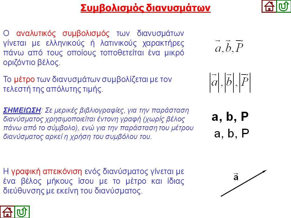 Ο αναλυτικός συμβολισμός των διανυσμάτων γίνεται με ελληνικούς ή λατινικούς χαρακτήρες πάνω από τους οποίους τοποθετείται ένα μικρό οριζόντιο βέλος. Σ