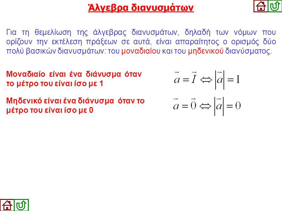 Για τη θεμελίωση της άλγεβρας διανυσμάτων, δηλαδή των νόμων που ορίζουν την εκτέλεση πράξεων σε αυτά, είναι απαραίτητος ο ορισμός δύο πολύ βασικών δια