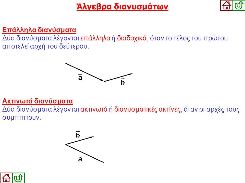 Ακτινωτά διανύσματα Δύο διανύσματα λέγονται ακτινωτά ή διανυσματικές ακτίνες, όταν οι αρχές τους συμπίπτουν. Επάλληλα διανύσματα Δύο διανύσματα λέγοντ