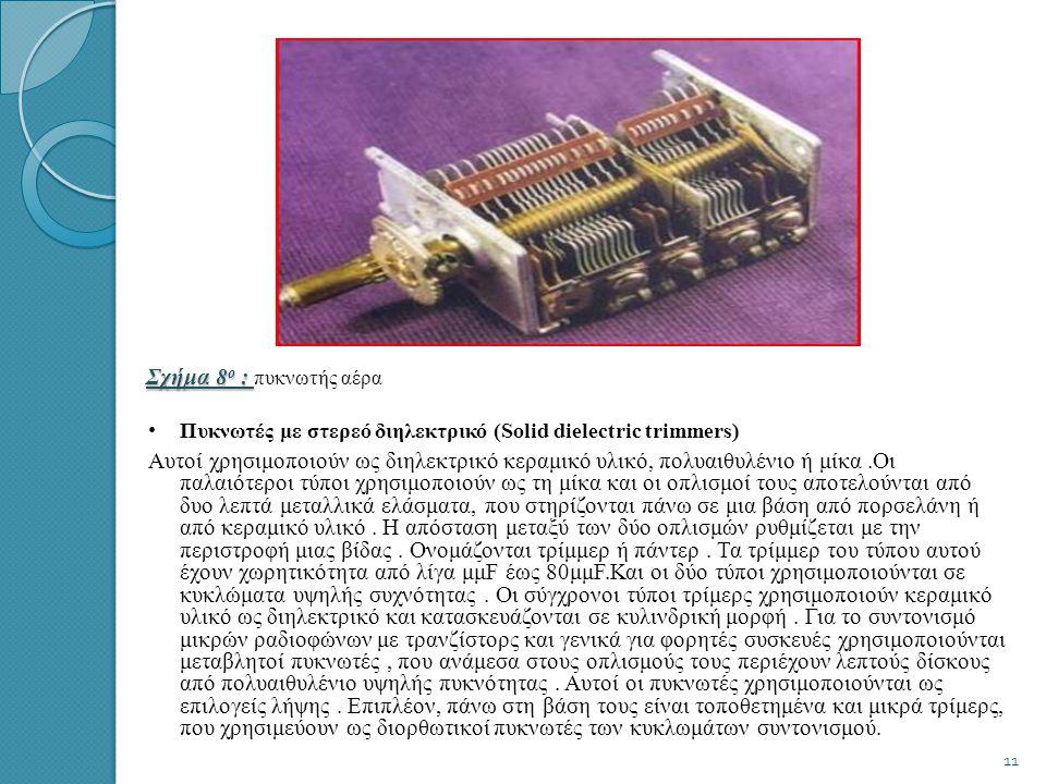 • • Πυκνωτές αέρα (Air Capacitors) Οι πυκνωτές αυτού του τύπου αποτελούνται από δύο ομάδες φύλλων αλουμίνιου.