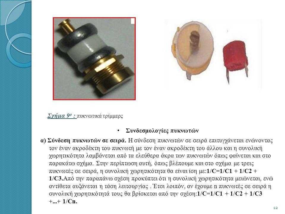 Σχήμα 8 ο : Σχήμα 8 ο : πυκνωτής αέρα • Πυκνωτές με στερεό διηλεκτρικό (Solid dielectric trimmers) Αυτοί χρησιμοποιούν ως διηλεκτρικό κεραμικό υλικό, πολυαιθυλένιο ή μίκα.Οι παλαιότεροι τύποι χρησιμοποιούν ως τη μίκα και οι οπλισμοί τους αποτελούνται από δυο λεπτά μεταλλικά ελάσματα, που στηρίζονται πάνω σε μια βάση από πορσελάνη ή από κεραμικό υλικό.