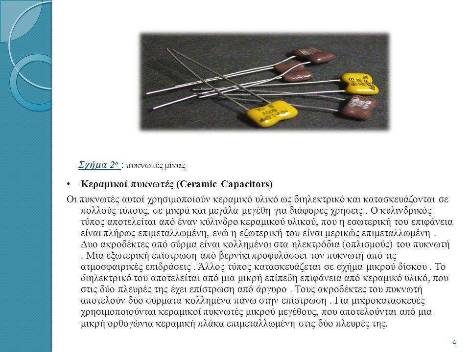Σχήμα 2 ο : πυκνωτές μίκας • Κεραμικοί πυκνωτές (Ceramic Capacitors) Οι πυκνωτές αυτοί χρησιμοποιούν κεραμικό υλικό ως διηλεκτρικό και κατασκευάζονται σε πολλούς τύπους, σε μικρά και μεγάλα μεγέθη για διάφορες χρήσεις.