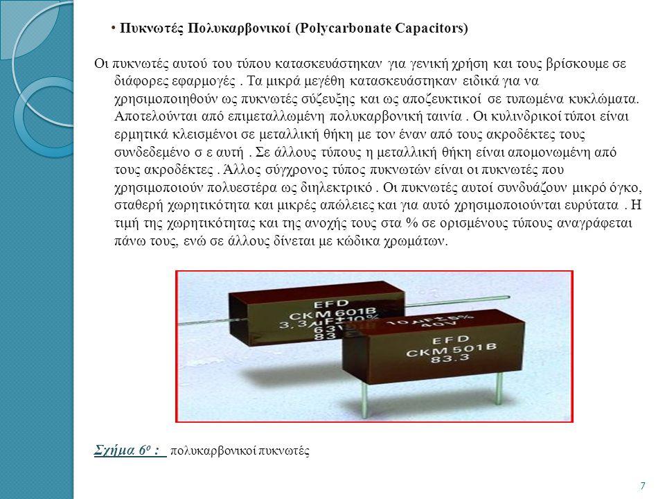 • • Πυκνωτές Πολυκαρβονικοί (Polycarbonate Capacitors) Οι πυκνωτές αυτού του τύπου κατασκευάστηκαν για γενική χρήση και τους βρίσκουμε σε διάφορες εφαρμογές.