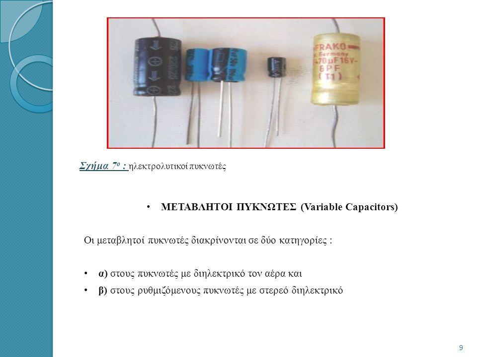 Σχήμα 7 ο : ηλεκτρολυτικοί πυκνωτές • ΜΕΤΑΒΛΗΤΟΙ ΠΥΚΝΩΤΕΣ (Variable Capacitors) Οι μεταβλητοί πυκνωτές διακρίνονται σε δύο κατηγορίες : • α) στους πυκνωτές με διηλεκτρικό τον αέρα και • β) στους ρυθμιζόμενους πυκνωτές με στερεό διηλεκτρικό 9