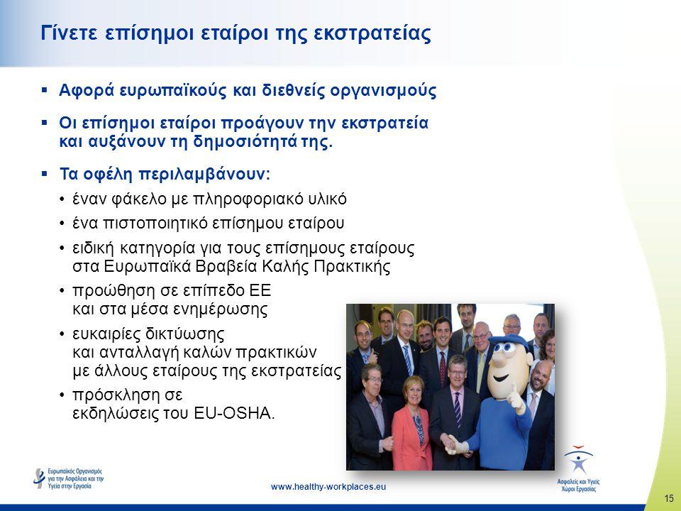 15 www.healthy-workplaces.eu Γίνετε επίσημοι εταίροι της εκστρατείας  Αφορά ευρωπαϊκούς και διεθνείς οργανισμούς  Οι επίσημοι εταίροι προάγουν την εκστρατεία και αυξάνουν τη δημοσιότητά της.