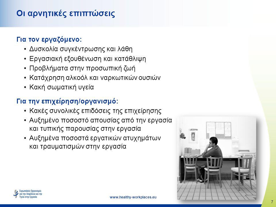 7 www.healthy-workplaces.eu Οι αρνητικές επιπτώσεις Για τον εργαζόμενο: •Δυσκολία συγκέντρωσης και λάθη •Εργασιακή εξουθένωση και κατάθλιψη •Προβλήματα στην προσωπική ζωή •Κατάχρηση αλκοόλ και ναρκωτικών ουσιών •Κακή σωματική υγεία Για την επιχείρηση/οργανισμό: •Κακές συνολικές επιδόσεις της επιχείρησης •Αυξημένο ποσοστό απουσίας από την εργασία και τυπικής παρουσίας στην εργασία •Αυξημένα ποσοστά εργατικών ατυχημάτων και τραυματισμών στην εργασία