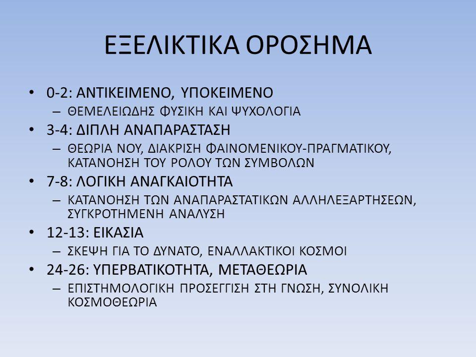 ΕΞΕΛΙΚΤΙΚΑ ΟΡΟΣΗΜΑ • 0-2: ΑΝΤΙΚΕΙΜΕΝΟ, ΥΠΟΚΕΙΜΕΝΟ – ΘΕΜΕΛΕΙΩΔΗΣ ΦΥΣΙΚΗ ΚΑΙ ΨΥΧΟΛΟΓΙΑ • 3-4: ΔΙΠΛΗ ΑΝΑΠΑΡΑΣΤΑΣΗ – ΘΕΩΡΙΑ ΝΟΥ, ΔΙΑΚΡΙΣΗ ΦΑΙΝΟΜΕΝΙΚΟΥ-ΠΡΑ