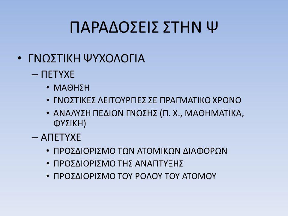 ΠΑΡΑΔΟΣΕΙΣ ΣΤΗΝ Ψ • ΓΝΩΣΤΙΚΗ ΨΥΧΟΛΟΓΙΑ – ΠΕΤΥΧΕ • ΜΑΘΗΣΗ • ΓΝΩΣΤΙΚΕΣ ΛΕΙΤΟΥΡΓΙΕΣ ΣΕ ΠΡΑΓΜΑΤΙΚΟ ΧΡΟΝΟ • ΑΝΑΛΥΣΗ ΠΕΔΙΩΝ ΓΝΩΣΗΣ (Π. Χ., ΜΑΘΗΜΑΤΙΚΑ, ΦΥΣΙΚ