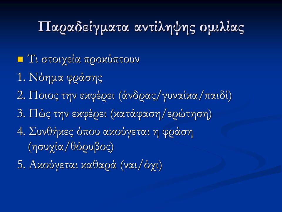 Παραδείγματα αντίληψης ομιλίας  Τι στοιχεία προκύπτουν 1. Νόημα φράσης 2. Ποιος την εκφέρει (άνδρας/γυναίκα/παιδί) 3. Πώς την εκφέρει (κατάφαση/ερώτη