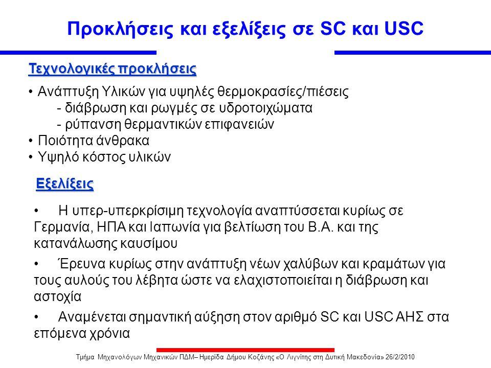 Προκλήσεις και εξελίξεις σε SC και USC •Ανάπτυξη Υλικών για υψηλές θερμοκρασίες/πιέσεις - διάβρωση και ρωγμές σε υδροτοιχώματα - ρύπανση θερμαντικών ε