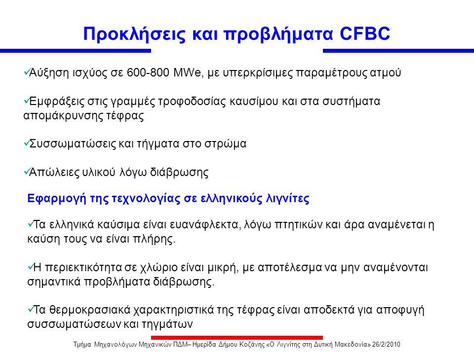 Προκλήσεις και προβλήματα CFBC  Τα ελληνικά καύσιμα είναι ευανάφλεκτα, λόγω πτητικών και άρα αναμένεται η καύση τους να είναι πλήρης.  Η περιεκτικότ