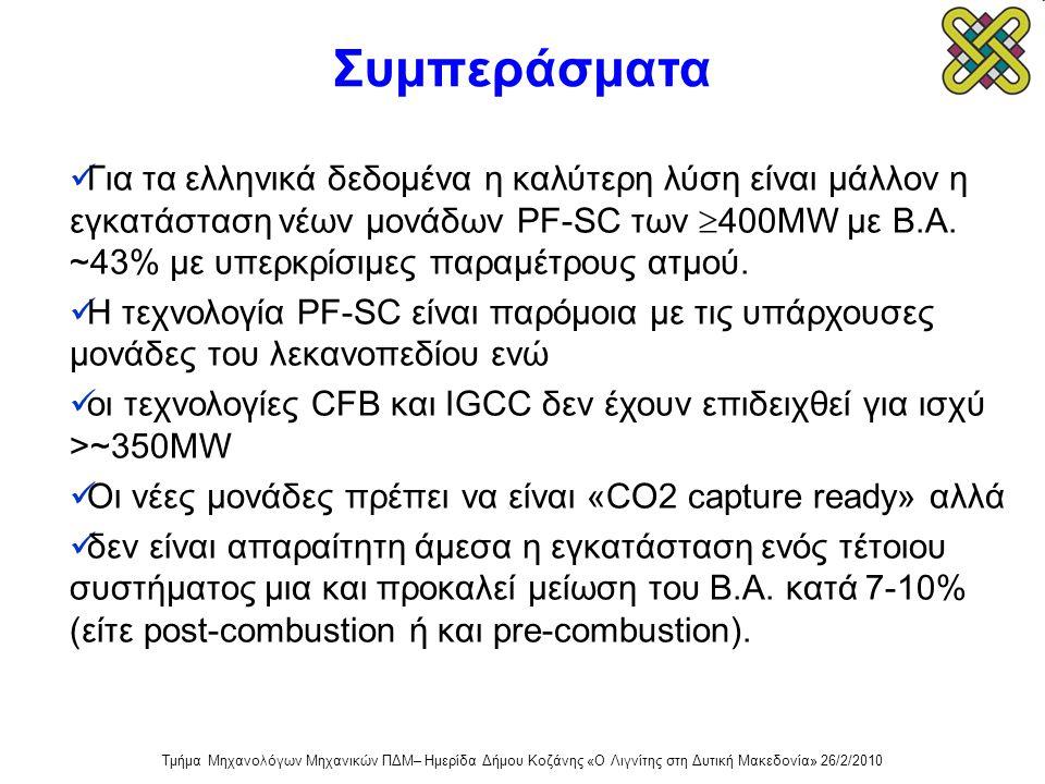 Συμπεράσματα  Για τα ελληνικά δεδομένα η καλύτερη λύση είναι μάλλον η εγκατάσταση νέων μονάδων PF-SC των  400MW με Β.Α. ~43% με υπερκρίσιμες παραμέτ