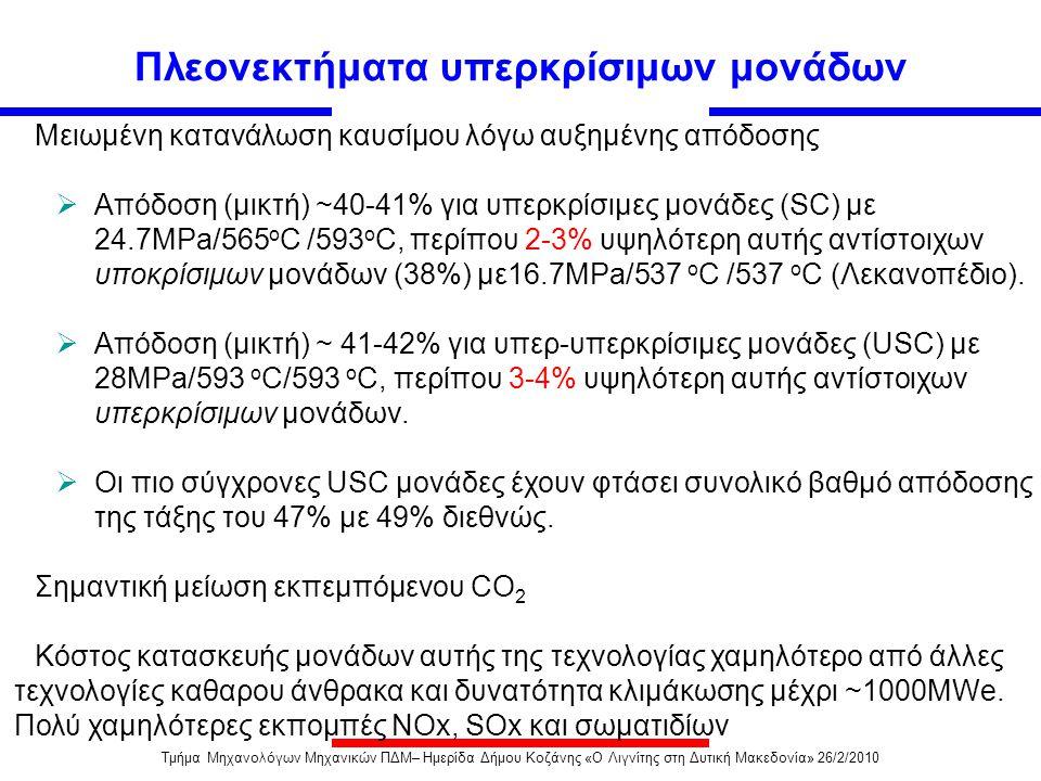 Υπερ-υπερκρίσιμες Μονάδες (USC) Μονάδες που λειτουργούν με ατμό πάνω από 275 bar πίεση και MS/RH θερμοκρασίες πάνω από 593°C Αρκετές μονάδες USC ισχύος 350MW με1000MW λειτουργούν ή είναι υπό κατασκευή •Στόχοι Υπουργείου Ενέργειας ΗΠΑ (DOE) για μονάδες USC: 760 o C και 375 bar •Στόχοι Ευρωπαϊκής Ένωσης για μονάδες USC (Thermie): 700/720 o C και 375 bar με Β.Α.