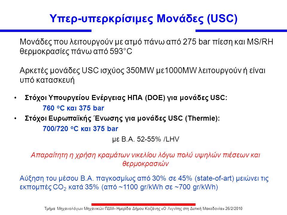 Υπερ-υπερκρίσιμες Μονάδες (USC) Μονάδες που λειτουργούν με ατμό πάνω από 275 bar πίεση και MS/RH θερμοκρασίες πάνω από 593°C Αρκετές μονάδες USC ισχύο