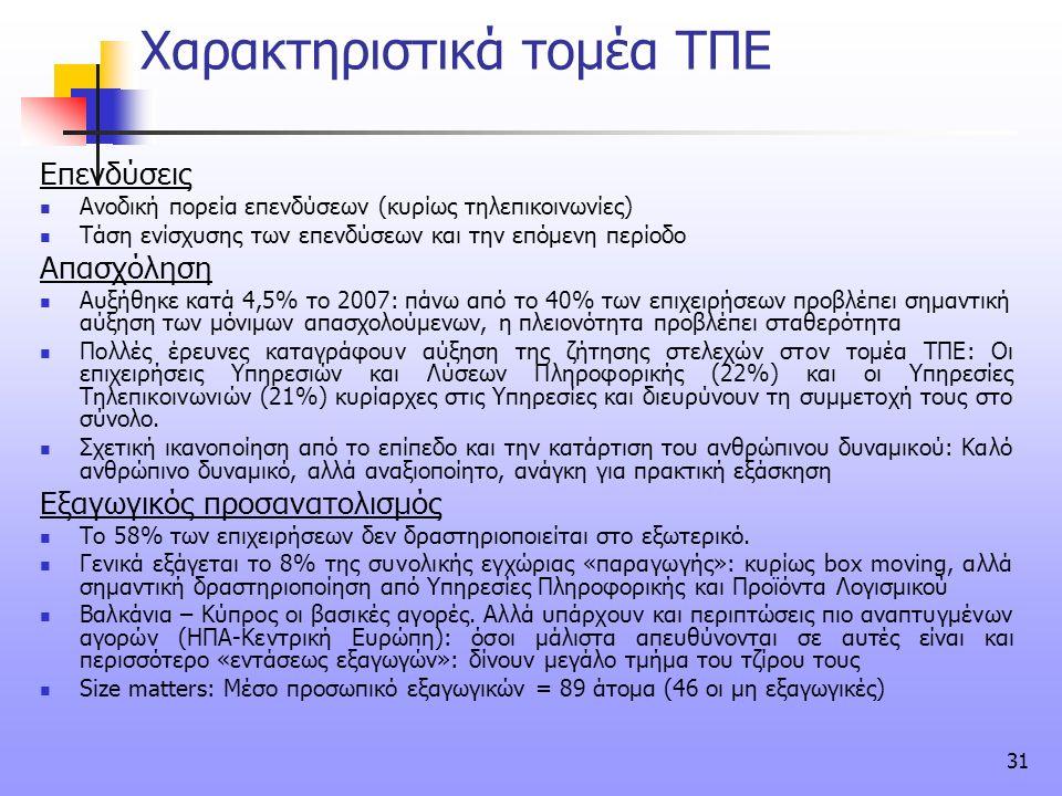 31 Χαρακτηριστικά τομέα ΤΠΕ Επενδύσεις  Ανοδική πορεία επενδύσεων (κυρίως τηλεπικοινωνίες)  Τάση ενίσχυσης των επενδύσεων και την επόμενη περίοδο Απ