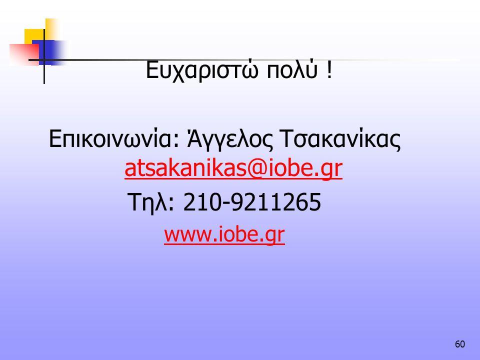 60 Ευχαριστώ πολύ Ευχαριστώ πολύ ! Επικοινωνία: Άγγελος Τσακανίκας atsakanikas@iobe.gr atsakanikas@iobe.gr Τηλ: 210-9211265 www.iobe.gr