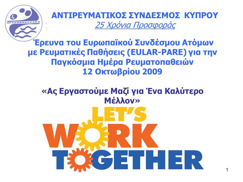 1 ΑΝΤΙΡΕΥΜΑΤΙΚΟΣ ΣΥΝΔΕΣΜΟΣ ΚΥΠΡΟΥ 25 Χρόνια Προσφοράς Έρευνα του Ευρωπαϊκού Συνδέσμου Ατόμων με Ρευματικές Παθήσεις (EULAR-PARE) για την Παγκόσμια Ημέρα Ρευματοπαθειών 12 Οκτωβρίου 2009 «Ας Εργαστούμε Μαζί για Ένα Καλύτερο Μέλλον»