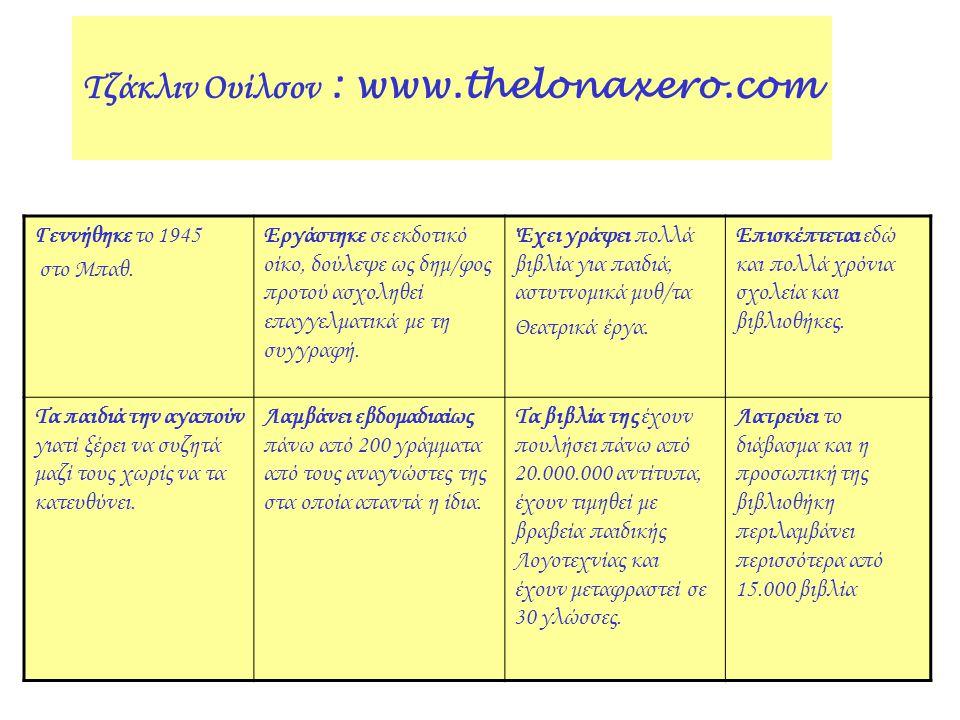 Τζάκλιν Ουίλσον : www.thelonaxero.com Γεννήθηκε το 1945 στο Μπαθ. Εργάστηκε σε εκδοτικό οίκο, δούλεψε ως δημ/φος προτού ασχοληθεί επαγγελματικά με τη