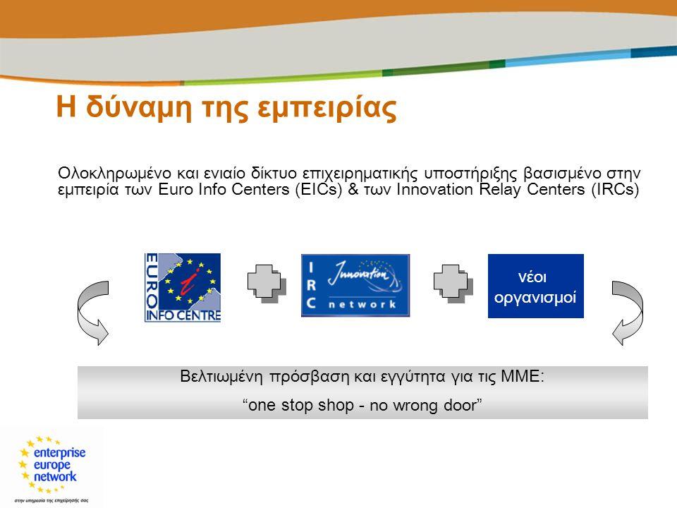 Η δύναμη της εμπειρίας Ολοκληρωμένο και ενιαίο δίκτυο επιχειρηματικής υποστήριξης βασισμένο στην εμπειρία των Euro Info Centers (EICs) & των Innovatio