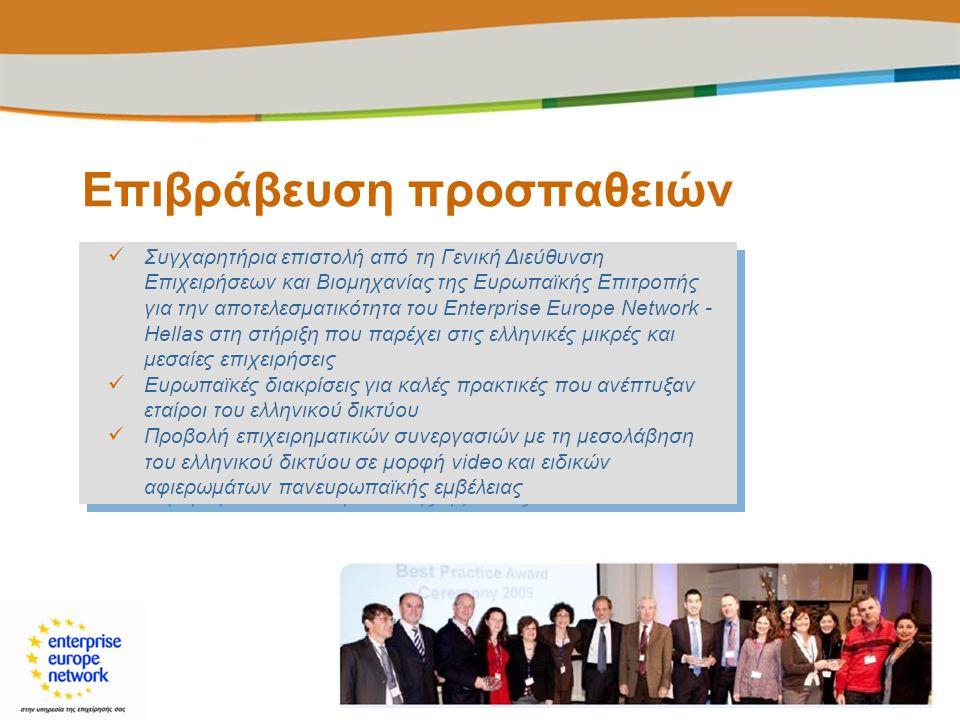 Επιβράβευση προσπαθειών  Συγχαρητήρια επιστολή από τη Γενική Διεύθυνση Επιχειρήσεων και Βιομηχανίας της Ευρωπαϊκής Επιτροπής για την αποτελεσματικότη