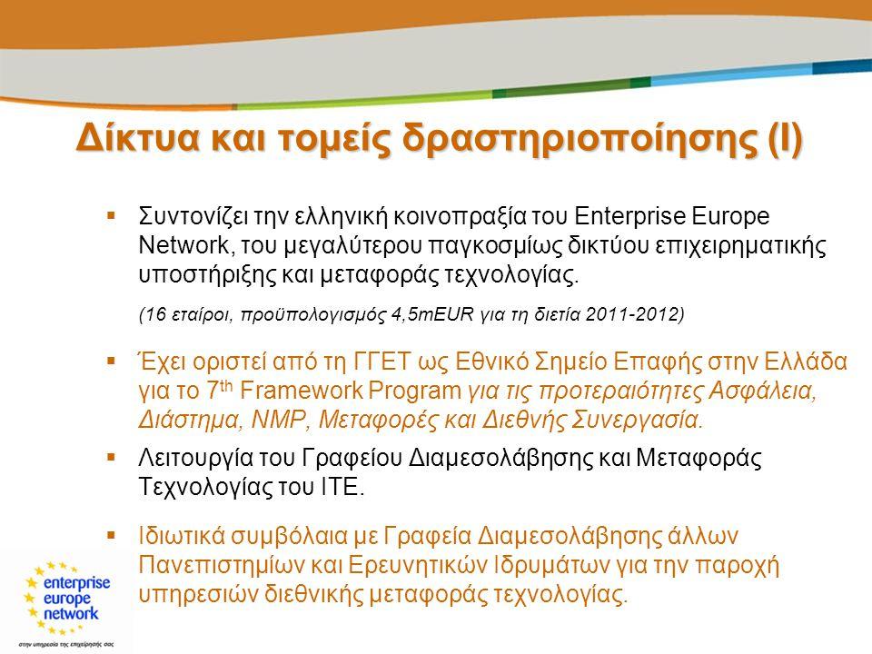 Δίκτυα και τομείς δραστηριοποίησης (I)  Συντονίζει την ελληνική κοινοπραξία του Enterprise Europe Network, του μεγαλύτερου παγκοσμίως δικτύου επιχειρ