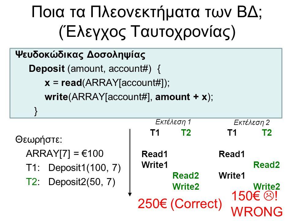 Ποια τα Πλεονεκτήματα των ΒΔ; (Έλεγχος Ταυτοχρονίας) Ψευδοκώδικας Δοσοληψίας Deposit (amount, account#) { x = read(ARRAY[account#]); write(ARRAY[accou