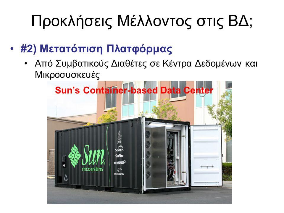 Προκλήσεις Μέλλοντος στις ΒΔ; •#2) Μετατόπιση Πλατφόρμας •Από Συμβατικούς Διαθέτες σε Κέντρα Δεδομένων και Μικροσυσκευές Sun's Container-based Data Ce