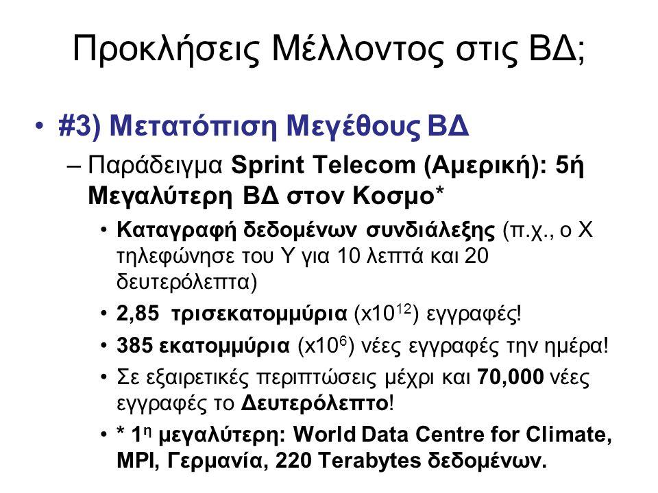 Προκλήσεις Μέλλοντος στις ΒΔ; •#3) Μετατόπιση Μεγέθους ΒΔ –Παράδειγμα Sprint Telecom (Αμερική): 5ή Μεγαλύτερη ΒΔ στον Κοσμο* •Καταγραφή δεδομένων συνδ