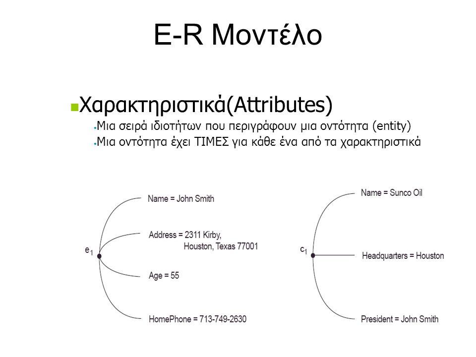 E-R Μοντέλο  Χαρακτηριστικά(Attributes) • Μια σειρά ιδιοτήτων που περιγράφουν μια οντότητα (entity) • Μια οντότητα έχει ΤΙΜΕΣ για κάθε ένα από τα χαρ