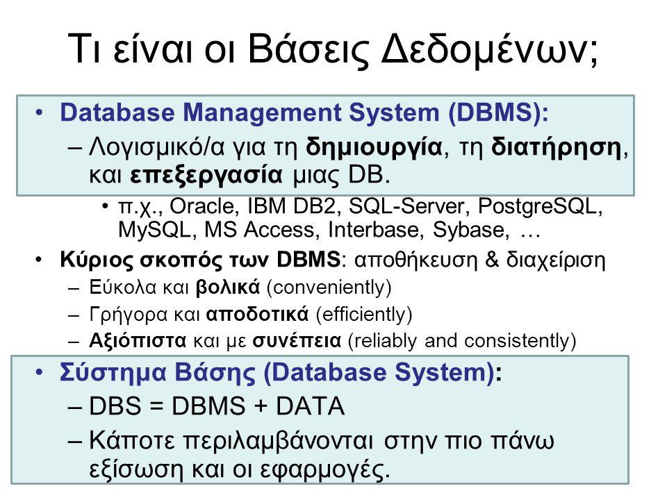 Τι είναι οι Βάσεις Δεδομένων; •Database Management System (DBMS): –Λογισμικό/α για τη δημιουργία, τη διατήρηση, και επεξεργασία μιας DB. •π.χ., Oracle