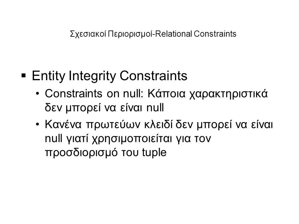 Σχεσιακοί Περιορισμοί-Relational Constraints  Entity Integrity Constraints •Constraints on null: Κάποια χαρακτηριστικά δεν μπορεί να είναι null •Κανέ