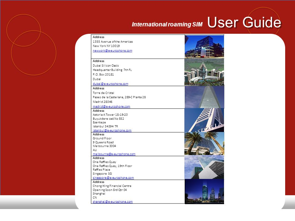 User Guide International roaming SIM Head office Europhone of Europe Suite B R.O.