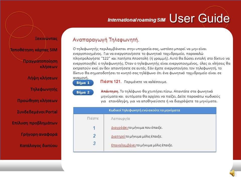 User Guide International roaming SIM 121 122 123 Πιέστε Σύντομοι Κωδικοί Πρόσβαση στον τηλεφωνητή - για να ακούσετε τα μηνύματα. Τηλεφωνητής On - Ενερ