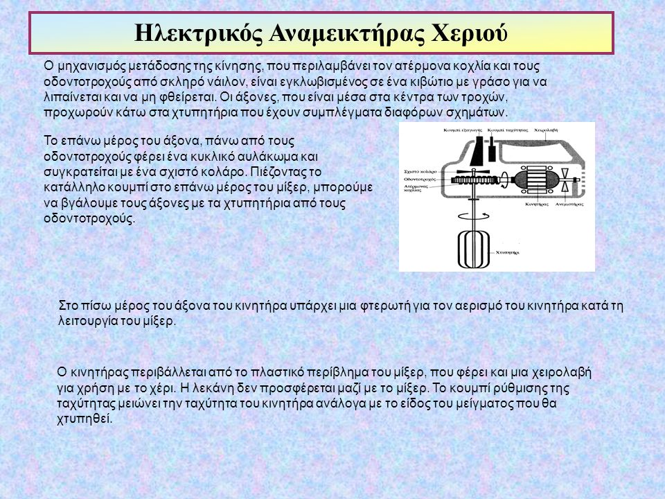 Ο μηχανισμός μετάδοσης της κίνησης, που περιλαμβάνει τον ατέρμονα κοχλία και τους οδοντοτροχούς από σκληρό νάιλον, είναι εγκλωβισμένος σε ένα κιβώτιο